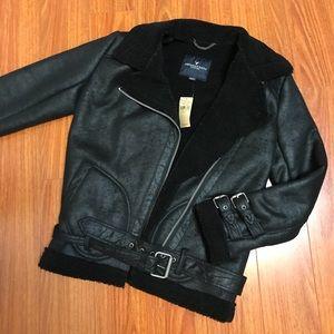 Moto jacket sherpa lining